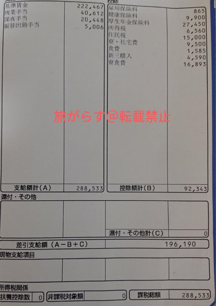 アイシンAW期間工の給料明細